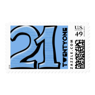 Silly Number 21 blue Stamp