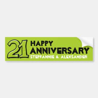 Silly Number 21 green Anniversary Bumper Sticker