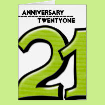 Silly Number 21 green Anniversary Card