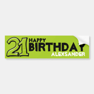Silly Number 21 green Birthday Long Sticker