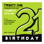 """Silly Number 21 green Birthday Party Invitation 5.25"""" Square Invitation Card"""