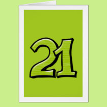 Silly Number 21 green Card