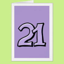 Silly Number 21 lavender Card