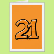 Silly Number 21 orange Card