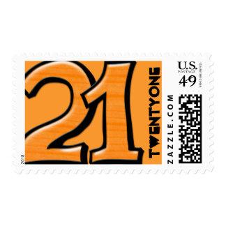 Silly Number 21 orange Stamp