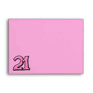 Silly Number 21 pink A7 Card Envelope