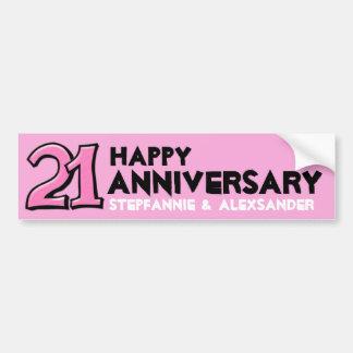 Silly Number 21 pink Anniversary Long Sticker Car Bumper Sticker