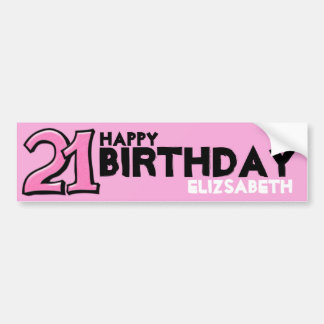 Silly Number 21 pink Birthday Long Sticker