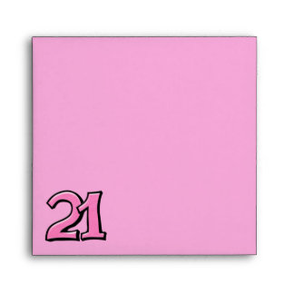 Silly Number 21 pink Invitation Square Envelope