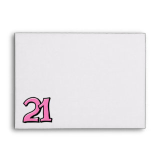 Silly Number 21 pink white A7 Card Envelope