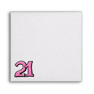 Silly Number 21 pink white Square Envelope