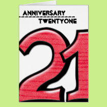 Silly Number 21 red Anniversary Card