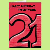 Silly Number 21 red Birthday Card