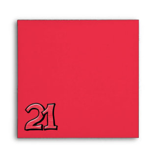Silly Number 21 red Invitation Square Envelope