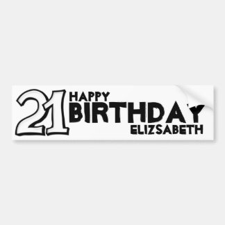 Silly Number 21 white Birthday Long Sticker