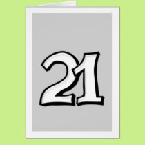 Silly Number 21 white Card