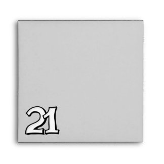 Silly Number 21 white gray Square Envelope