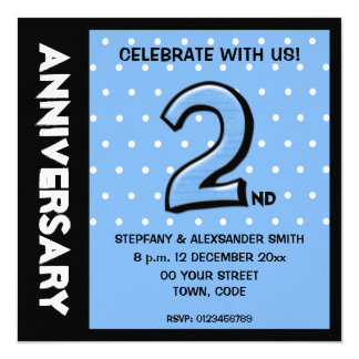 Silly Number 2 blue dots Anniversary Invitation