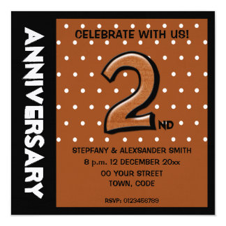 Silly Number 2 chocolate dots Anniversary Invite