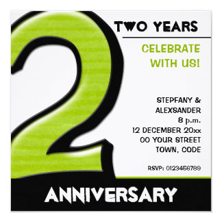 "Silly Number 2 green Anniversary Invitation 5.25"" Square Invitation Card"