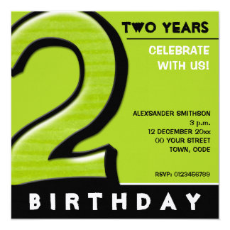 """Silly Number 2 green Birthday Party Invitation 5.25"""" Square Invitation Card"""