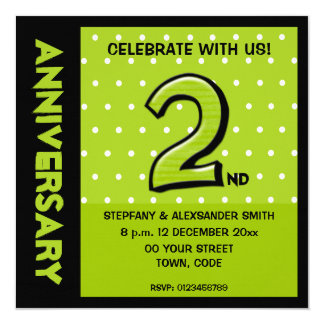 """Silly Number 2 green dots Anniversary Invitation 5.25"""" Square Invitation Card"""