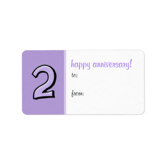 Silly Number 2 lavender Anniversary Gift Label