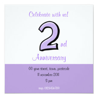 Silly Number 2 lavender Anniversary Invitation