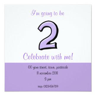 Silly Number 2 lavender Birthday Invitation