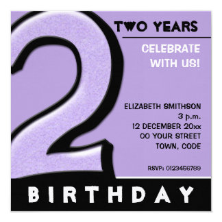 Silly Number 2 lavender Birthday Party Invitation
