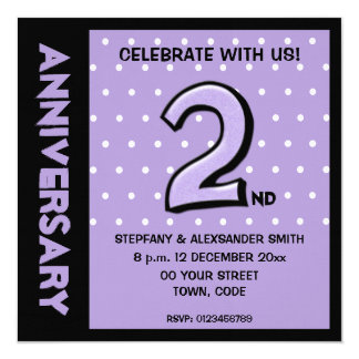 Silly Number 2 lavender dots Anniversary Invite