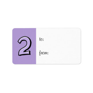 Silly Number 2 lavender Gift Tag Label
