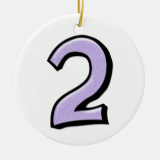 Silly Number 2 lavender white Ornament