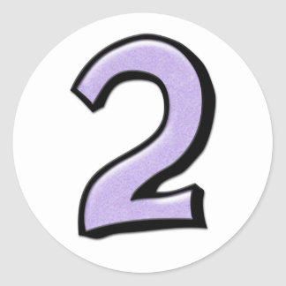 Silly Number 2 lavender white Sticker