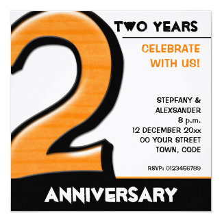 Silly Number 2 orange Anniversary Invitation