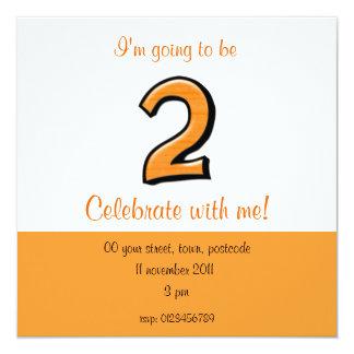 Silly Number 2 orange Birthday Invitation