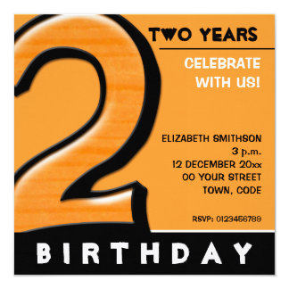 Silly Number 2 orange Birthday Party Invitation
