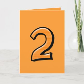Silly Number 2 orange Card card