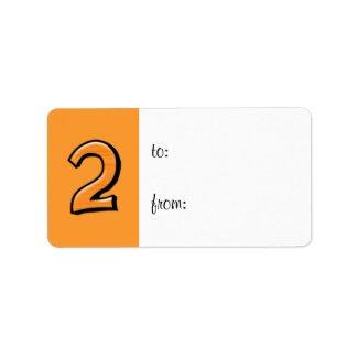 Silly Number 2 orange Gift Tag Label label