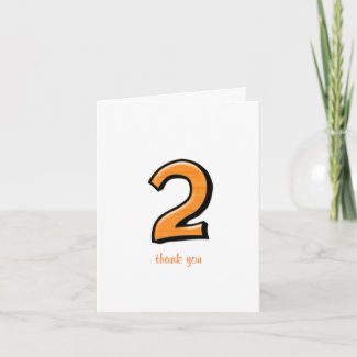 Silly Number 2 orange Thank You Note Card card