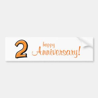 Silly Number 2 orange white Anniversary Bumper Sticker