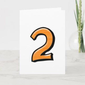 Silly Number 2 orange white Card card