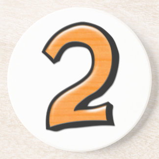 Silly Number 2 orange white Coaster
