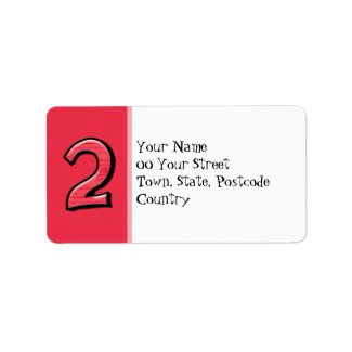 Silly Number 2 red Address Label label