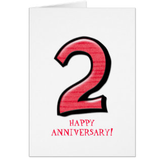 Silly Number 2 red Anniversary Card