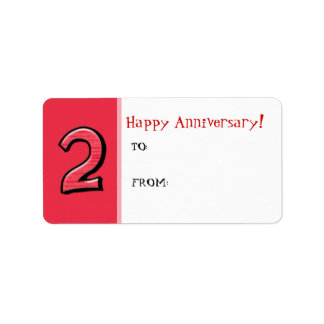 Silly Number 2 red Anniversary Gift Tag Label