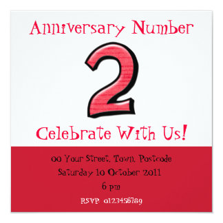 Silly Number 2 red Anniversary Invitation