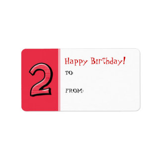 Silly Number 2 red Birthday Gift Tag Label