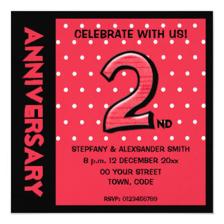 Silly Number 2 red dots Anniversary Invite