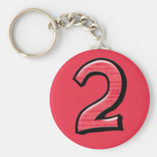 Silly Number 2 red Keychain